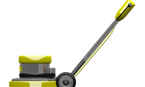 a picture of a yellow electric scrubber