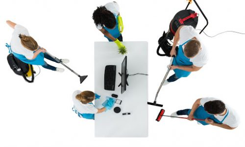 an aerial view of workers cleaning an office