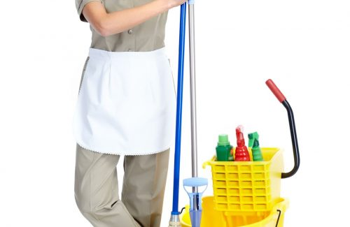 a picture of a woman wearing a cleaning clothe while holding a broom and a mop